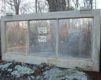 34 x 17 Vintage Basement Antique window sash old 3 pane from 1940s