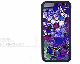 Purple iPhone 6 6s Case - Abstract Art Apple iPhone 6s BUMPER Case - Grape Bubbles - Rubber Sided 6s Case