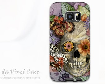 Butterfly Skull Galaxy S7 EDGE Case - Premium Dual Layer Samsung Galaxy S 7 EDGE Case with Sugar Skull Art - Butterfly Botaniskull
