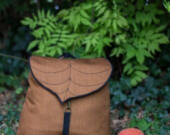 Coffe Brown Leaf Leaf Bohemian Backpack,  Women's Rucksack, Waterproof Festival Backpack, Grunge Backpack, School Backpack, Made to Order