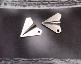 Paper Airplane Charms Origami Charms Antiqued Silver BULK Wholesale Charms 50 pieces