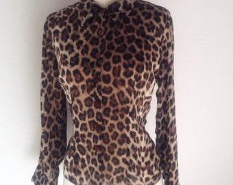 ON SALE 1980s Vintage Women's Leopard Print Blouse Size S