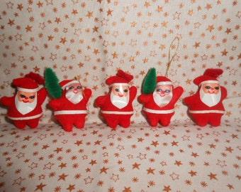 "Five 2"" Flocked Santa Ornaments"