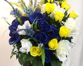 Yellow and blue, Navy blue roses, Silk flowers, Flower arrangement, Floral centerpiece, Table arrangements, Silk vase large Blue decor,