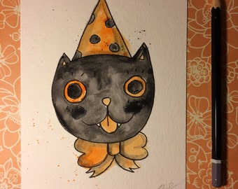 """Halloween Watercolor Painting """"Black Cat"""" 5x7 inches decoration."""