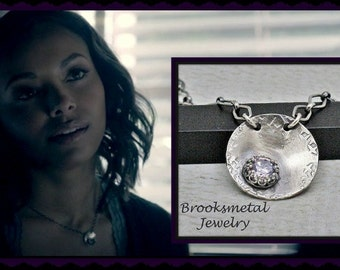 Sterling Silver Gemstone Necklace As Seen on The Vampire Diaries  Bonnie Necklace Statement Necklace Rustic Fashion Necklace