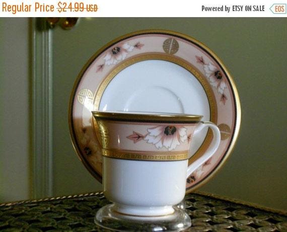CIJ Tea cup & Saucer Set, Noritake Bone China, Commemoration Pattern 9798, Asian Deco, Fine China ~ BreezyJunction.etsy.com