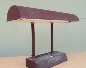 ON SALE Vintage Industerial Brown Desk Light, Table Lamp, Mid Century Modern,Lighting, Mad Men, Fluorescent