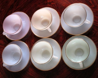 Signed ARCOPAL - French 1950s-60s Harlequin Opalescent LARGEST Size Six Piece Coffee /Hot Chocolate Service.  MINT Condition. Biggest Size