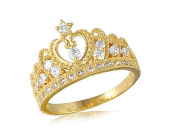 Engagement CZ Crown Ring in 14k Yellow gold Princes Crown Ring AT-019
