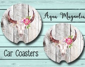 Bull Horns - Boho - Floral Skull - Car Coaster - Car Accessory - Cup Holder Coaster - Personalized