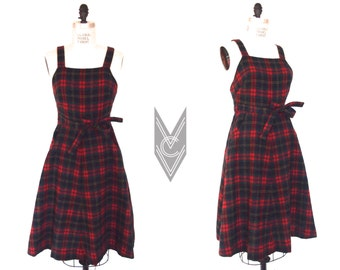 vintage PLAID WOOL wrap dress