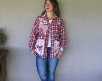 upcycled Boyfriend shirt Layering clothing patchwork Ralph Lauren shirt Jacket Large X Large Artsy Eco Boho prairie top LillieNoraDryGoods