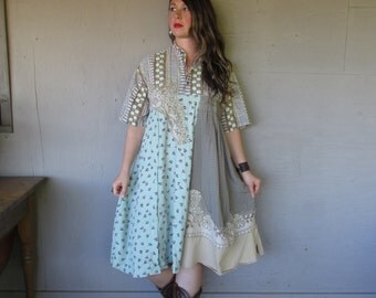 upcycled shirt dress romantic clothing flowing prairie dress X L 1 X  Boho patchwork Frock French Shabby chic dress by LillieNoraDryGoods