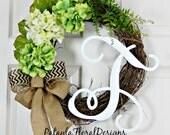 Monogram Door Wreath Spring, Summer Door Wreath,  Hydrangea Wreath, Monogram Wreaths for Front Door, Wedding Gift, Summer Door Wreaths