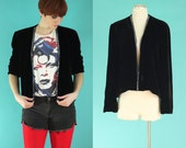 Vintage 80s Black Velvet Blazer - Embellished Jacket - Beaded Jacket - Velvet Jacket - Formal Jacket - Glam Rock Clothing - Size Large