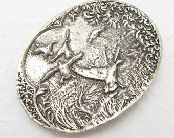 Large Sterling Belt Buckle Flying Birds Pheasant Mens Vintage Accessories H780