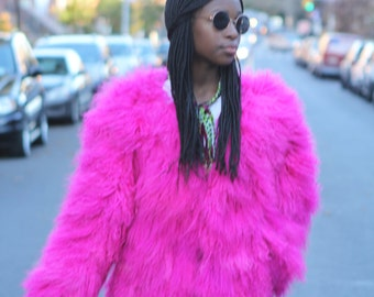 Vintage Hot Pink Mongolian Lamb Jacket - Mint!