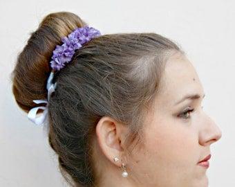 Lavender Kiss - purple blossom Bun Belt - violet lavender purple flower hair bun, floral wreath, floral hair accessory