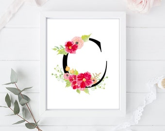 C - Letter Monogram Art - 8 x 10 inch - Art Calligraphy Poster