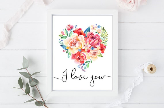 I love you - Quote Print - Wall Decor - 8 x 10 inch - Art Calligraphy Poster
