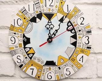 The City Wall Clock Home Decor for Children Baby Kid Boy Girl Nursery Playroom