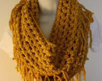 Crochet scarf, Infinity scarf, mustard, yellow, chunky scarf, fringe