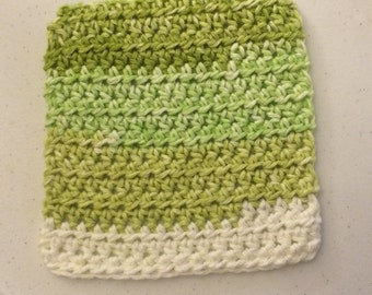 Wash cloth, dish cloth, dish rag, handmade, lime, green
