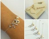 Free Shipping, Set of 4 personalized bow bracelets.Personalized sterling silver bow bracelet., monograme bracelet