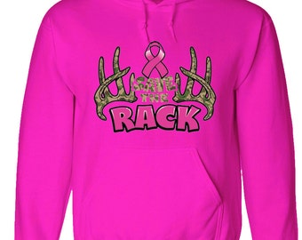Pink hoodie save the rack - breast cancer awareness