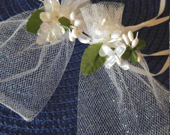 White Organza Sparkle Favor Bags-Set of 10 / Hand-Decorated/ Organza or Sparkle White Wedding -Baptism-First Communion- Confrmation