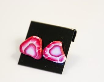 Miniature Food, Food Jewelry, Food Miniatures, Miniature Food Jewelry - Strawberry Slice Earrings