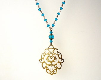 Steel Blue Necklace, Crystal necklace, Wire wrapped necklace, antique brass pendant, arabesque necklace, petrol blue, trends 2018