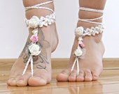 Wedding BAREFOOT sandals, barefoot sandal, paper rose barefoot sandles, Floral sexy anklet jewelry, foot thongs, bottomless shoes