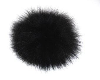 Detachable black fox fur pom pom