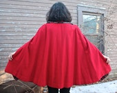 Vintage Cape Coat RED RIDING JACKET Reversible Plaid & Pan Collar W/ Black Leather Trim Twee woven wool Topper 60s Mod Woman All Sizes S/M/L