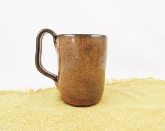 High Glaze Mug in a Rich Mocha Brown With Large, Unique Handle - Artist 'Potts' - Dusty Brown - Drink Mug