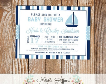 Dark Navy and Light Blue Sailboat Stripes and Polka Dots Baby Shower invitation - choose your colors - Nautical Baby Shower