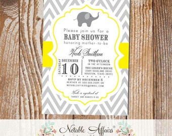 Gray and Yellow Chevron Elephant Baby Shower Invitation - colors can be changed - gender neutral baby shower