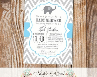 Gray and Ice Blue Chevron with Elephant Baby Boy Shower Invitation - colors can be changed