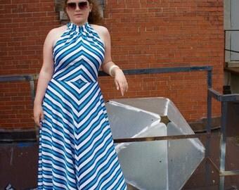 DIAMOND VORTEX 1970's Mod Op Art Chevron Striped Maxi Halter Dress