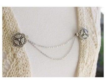 Sweater Guard Cardigan Clip Collar Clip Vintage Inspired Retro Jewelry - Lexi