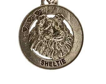 Pewter ~ Sheltie Keychain ~ DK164
