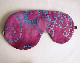 Pink Sleep Mask, Sleeping Eye Mask, Batik eye mask, adjustable sleeping mask