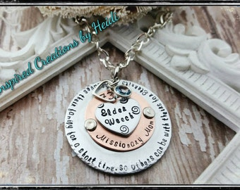 Missionary Mom , missionary jewelry , LDS necklace , mormon elder , Lds mom necklace , 730 days , called to serve , LDS gift , mixed metals