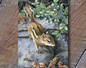 ACEO Chipmunk Card - ACEO Trading Cards - ACEO Wildlife Cards - Chipmunk Print - Miniature Wildlife Prints - Chipmunk Image