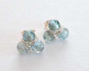 Apatite Stud Earrings, Mint Earrings, Gemstone Stud Earrings, Pale Turquoise Earrings, Gifts for Her