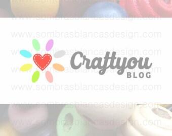 OOAK Premade Logo Design - Heart Daisy - Perfect for a crafts blog or a supplies shop