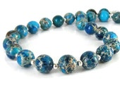 Jasper Necklace, Blue Gemstone Jewellery, Chunky Necklace, Natural Stone Jewellery, Semi Precious Stone, Rustic Accessories, Handmade