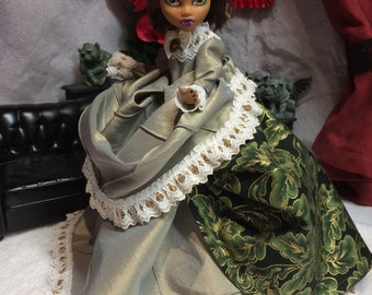 Green and Gold Christmas Victorian Gown for your Monster High Doll